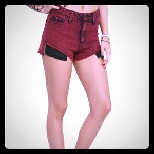 Lovesick | Distressed Brick Red Denim Shorts